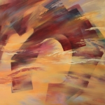 'Oh, Desert' byGhazi Al Ghosaibi (Saudi Arabia) Oil on Canvas 100 x 100 cm.